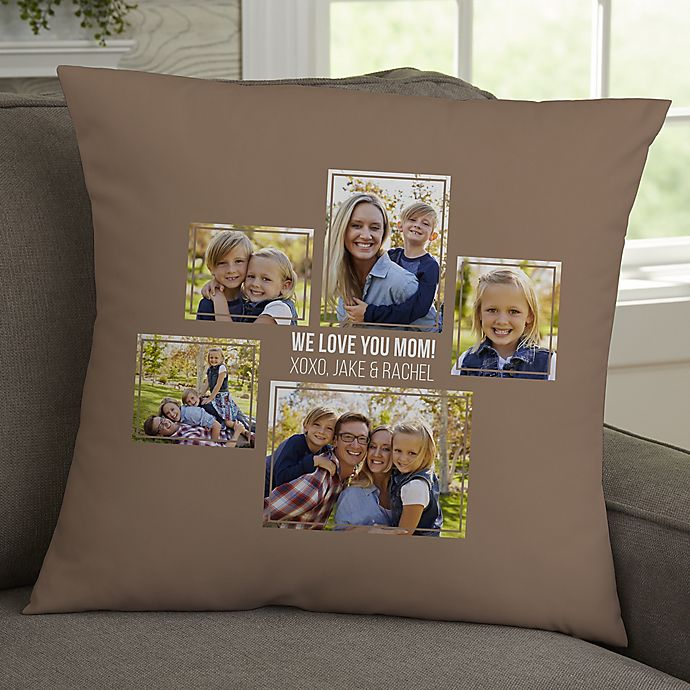 Alternate image 1 for For Her 5-Photo Collage Personalized 18-Inch Square Throw Pillow