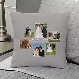 Wedding 6-Photo Collage Personalized 14-Inch Square Throw Pillow