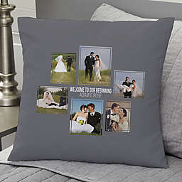Wedding 6-Photo Collage Personalized 18-Inch Square Throw Pillow