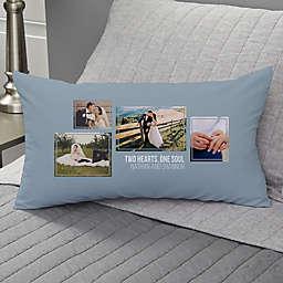 Wedding 4-Photo Collage Personalized Lumbar Throw Pillow