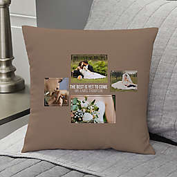 Wedding 4-Photo Collage Personalized 14-Inch Square Throw Pillow
