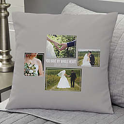 Wedding 4-Photo Collage Personalized 18-Inch Square Throw Pillow