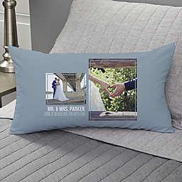 Wedding 2-Photo Collage Personalized Lumbar Throw Pillow