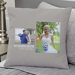 Wedding 2-Photo Collage Personalized 18-Inch Square Throw Pillow