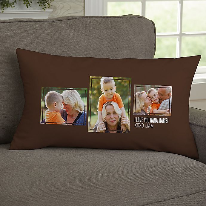 Alternate image 1 for For Her 3-Photo Collage Personalized Lumbar Throw Pillow