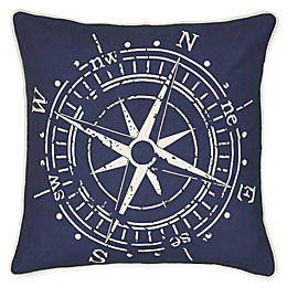 Rizzy Home Compass Square Throw Pillow in Blue