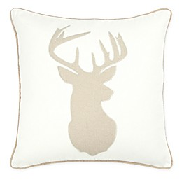Rizzy Home Deer Head Square Throw Pillow in Cream