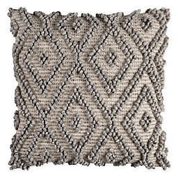 Rizzy Home Diamond Square Throw Pillow in Natural/Grey