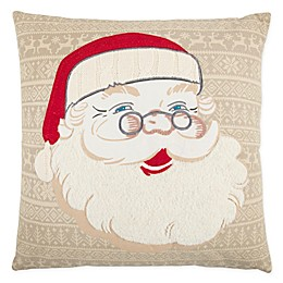 Rizzy Home Santa Claus Square Throw Pillow in Beige/Red