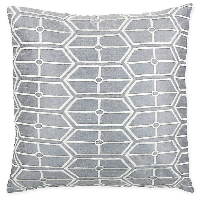Alternate image 1 for Rizzy Home Geometric Square Throw Pillow in Grey