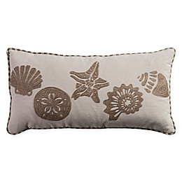 Rizzy Home Coastal Embroidered Oblong Throw Pillow in Light Beige