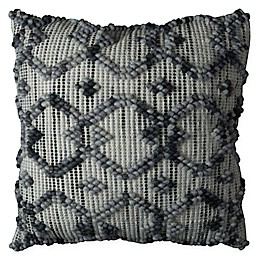 Rizzy Home Intertwined Diamond Square Throw Pillow in Natural/Grey