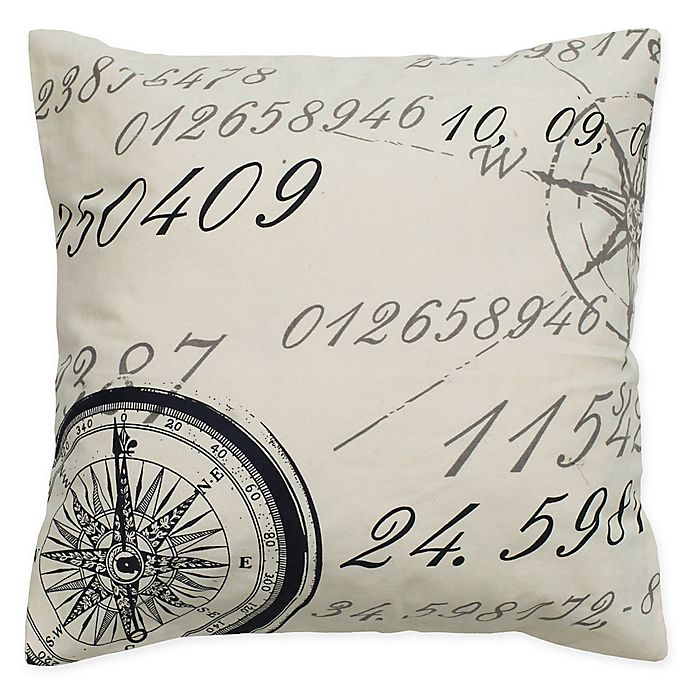 Alternate image 1 for Rizzy Home Compass Script Square Throw Pillow in Cream