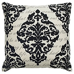 Rizzy Home Damask Square Indoor/Outdoor Throw Pillow in Cream