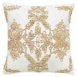 Rizzy Home Jute Medallion Square Throw Pillow in White