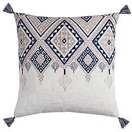 Rizzy Home Tribal-Inspired Fringe Square Indoor/Outdoor Throw Pillow in Ivory/Blue