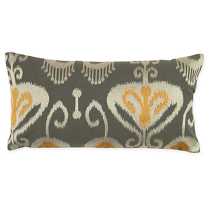 Rizzy Home Ikat Oblong Indoor Outdoor Throw Pillow In Grey Yellow