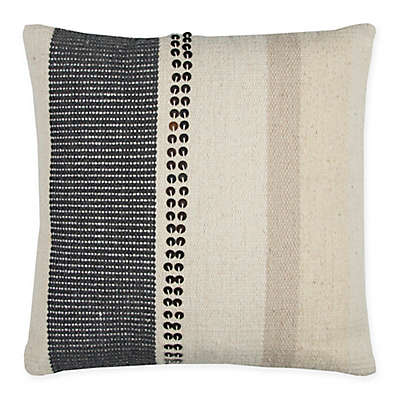 Rizzy Home Vertical Stripe Kilim Square Indoor/Outdoor Throw Pillow in Beige/Grey