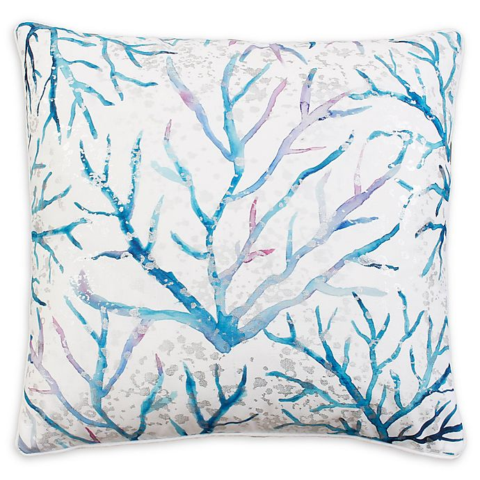 Alternate image 1 for Thro Tongal Coral Square Throw Pillow in Blue/White