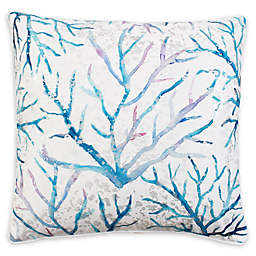 Thro Tongal Coral Square Throw Pillow in Blue/White