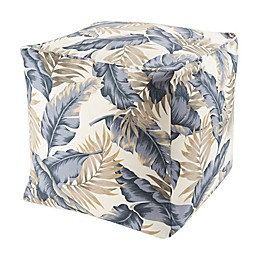 Madison Park Cocoa Leaf Outdoor Pouf