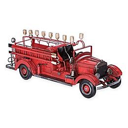 Old Time Fire Wagon Hanukkah Menorah in Red