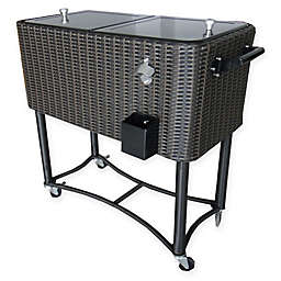 Permasteel Wicker 80-Quart Patio Cooler in Black/Brown