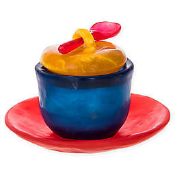 Covered Honey Bowl with Tray and Spoon in Indigo/Lemon/Cherry