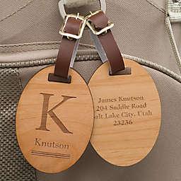 Classic Monogram Personalized Wood Bag Tag