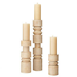 Global Views Totem Candleholder in Whitewash