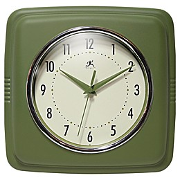 Infinity Instruments 9-Inch Square Retro Wall Clock in Olive Green