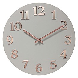 Infinity Instruments 12-Inch Vogue Wall Clock in Grey/Rose Gold