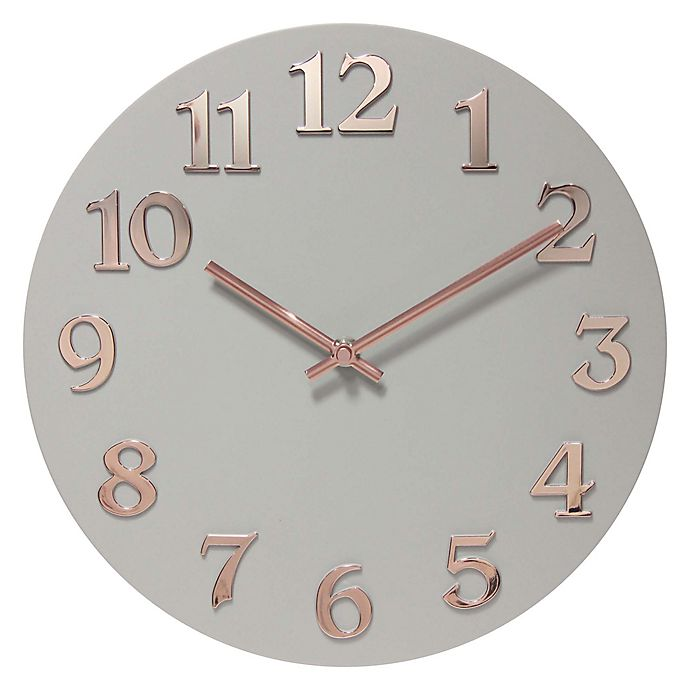 Alternate image 1 for Infinity Instruments 12-Inch Vogue Wall Clock in Grey/Rose Gold