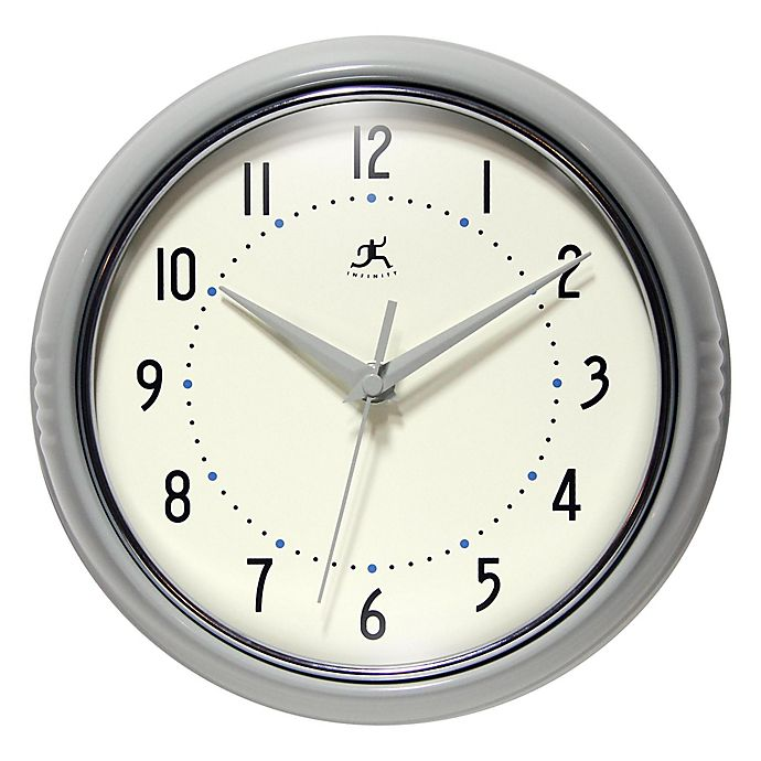 Alternate image 1 for Infinity Instruments 9.5-Inch Round Retro Wall Clock in Grey