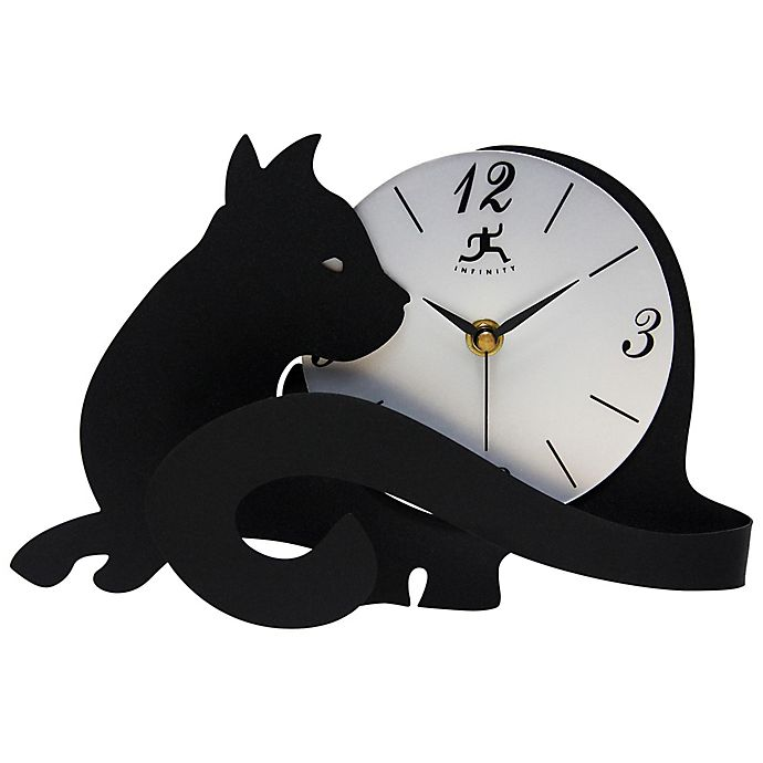 Alternate image 1 for Infinity Instruments Cat Tail Tabletop Clock in Black