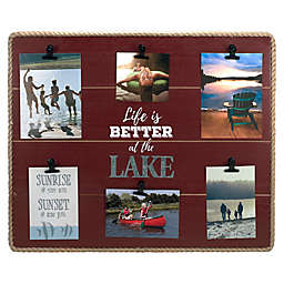Maiden Lake Life Rope-Lined 6-Clip Photo Frame in Red