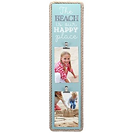 Maiden Beach Happy Rope-Lined 2-Photo Clip Frame in Turquoise