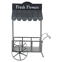 Ridge Road Décor Metal Flower Cart Planter in Black
