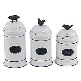 Ridge Road Decor Metal Jars with Farm Animal Lids (Set of 3)