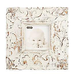 Mud Pie® 3.5-Inch Square Raised Leaf Design Frame in Antique White