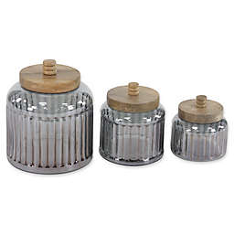 Ridge Road Décor Smoked Glass Jars with Lids (Set of 3)