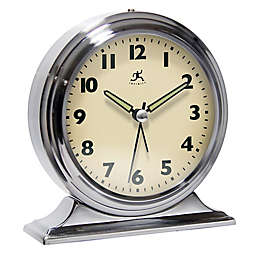 Infinity Instruments Boutique Alarm Tabletop Clock in Silver/Brushed Nickel