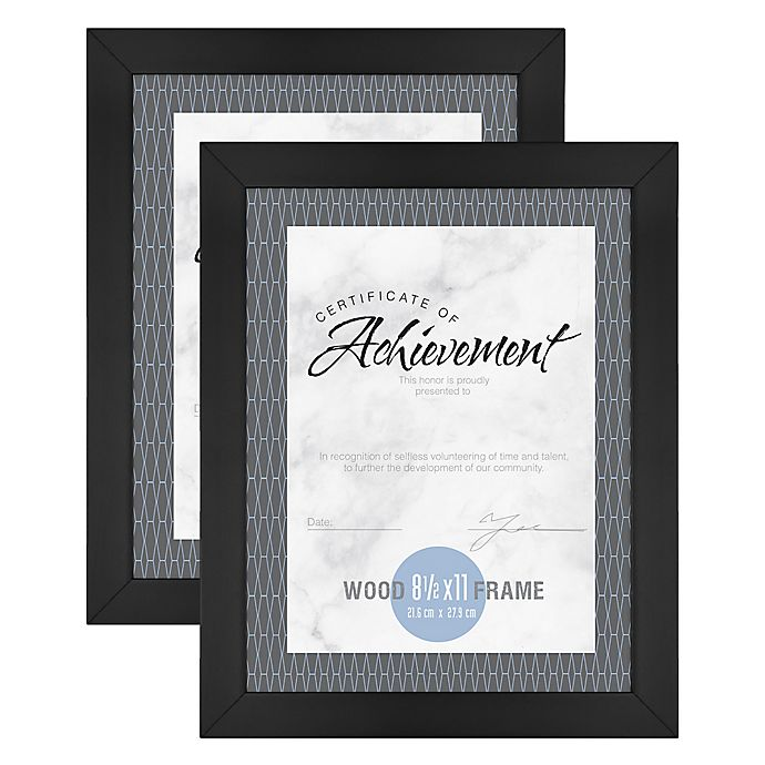 Alternate image 1 for Gallery 8.5-Inch x 11-Inch Wood Document Frame in Black (Set of 2)