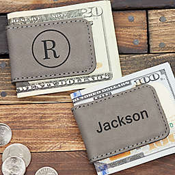 Grey Leatherette Magnetic Personalized Money Clip