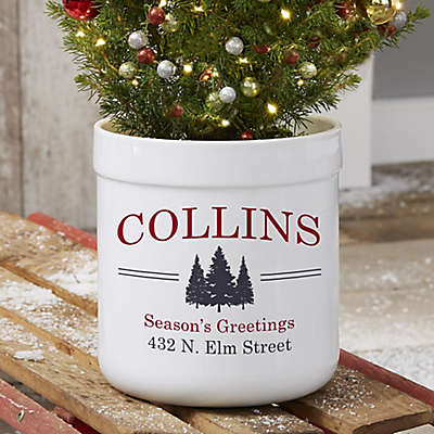 Vintage Holiday Personalized Outdoor Flower Pot