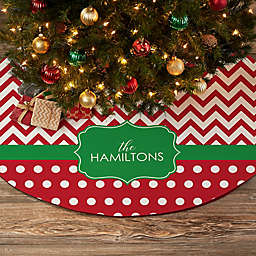 Preppy Chic Personalized Christmas Tree Skirt