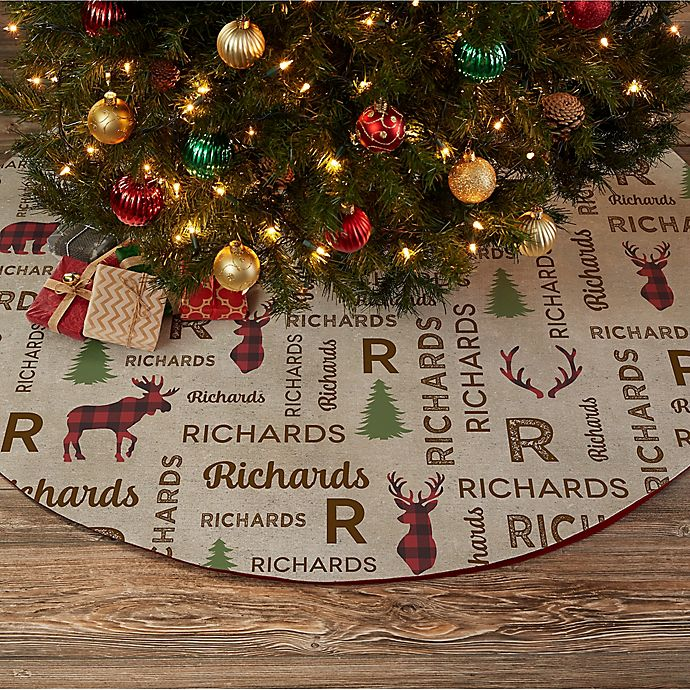 Alternate image 1 for Cozy Cabin Personalized Christmas Tree Skirt