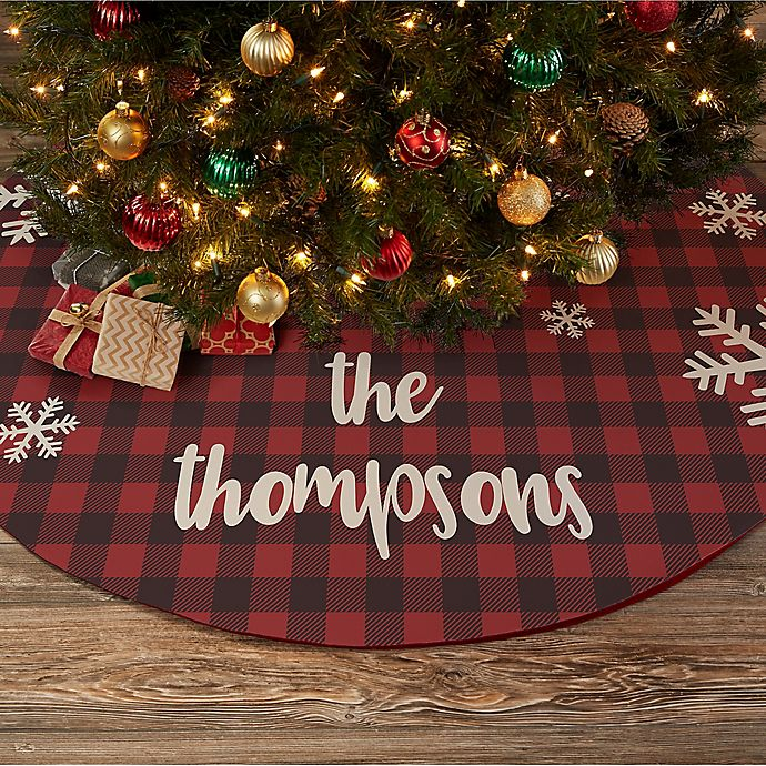 Alternate image 1 for Cozy Cabin Buffalo Check Personalized Christmas Tree Skirt