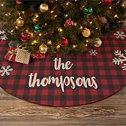 Cozy Cabin Buffalo Check Personalized Christmas Tree Skirt