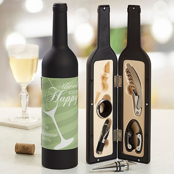 Alternate image 1 for Uncork Some Happy Personalized Wine Accessory 5pc Kit
